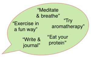 Speech bubble with words for the ways to manage your stress naturally