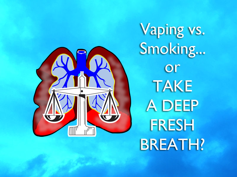 illustration of lungs with text to show vaping vs. smoking debate